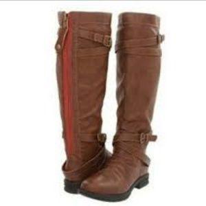 Madden Girl Zerge Cognac Boots Exposed Zipper